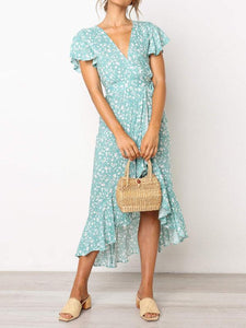 Casual Floral Short-Sleeved   V-Neck Chiffon Dress
