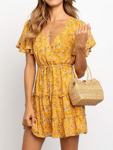 Small Floral V-Neck High Waist   Tie Chiffon Mini Dress