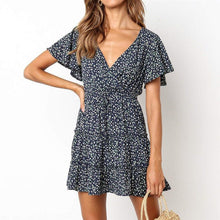 Load image into Gallery viewer, Small Floral V-Neck High Waist   Tie Chiffon Mini Dress
