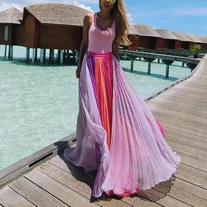 Bohemian Splicing Contrast Color Pleated Chiffon Skirt