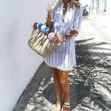 Load image into Gallery viewer, Casual Vacation Lace-Up Striped Print Ball Hem Dress