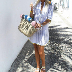 Casual Vacation Lace-Up Striped Print Ball Hem Dress