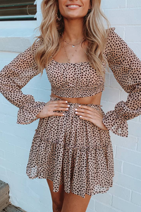 Sweet Square Collar Long Sleeve Top + Pleated Two Piece Sets
