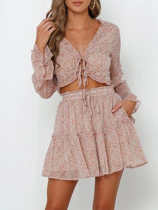 Floral V-Neck Lace Long Sleeve Ruffled Two Piece Set