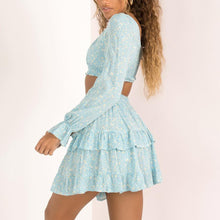 Load image into Gallery viewer, Small Square Long Sleeve   Stitching Ruffle Mini Dress Set