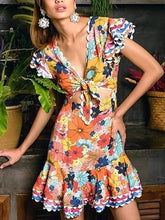 Load image into Gallery viewer, Women's Print V-Neck Short Sleeve Cutout Dress