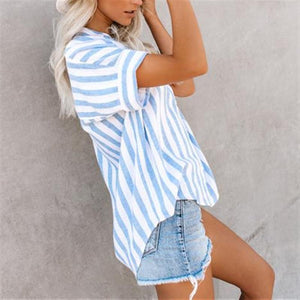 Casual Short Sleeve Loose Large Size Striped Shirt