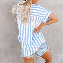 Load image into Gallery viewer, Casual Short Sleeve Loose Large Size Striped Shirt