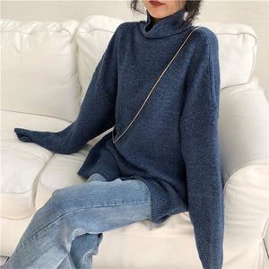 Casual High Collar Pure Colour Loose Sweater