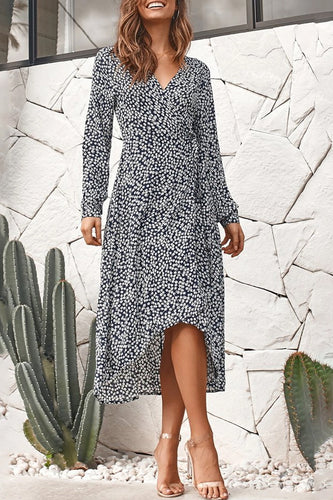 Fashion V-Neck Print Long Sleeve   Split Dress