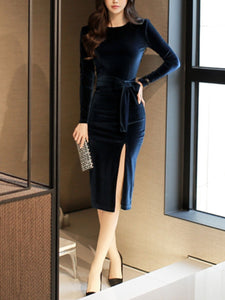 Sexy Long Sleeve Gold Velvet Tie Bodycon