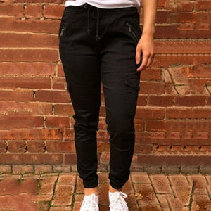 Casual Slim Fit Drawstring Black Sport Pants