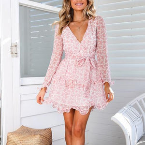 V-Neck Print Stitching Long   Sleeve Mini Dress(Video)