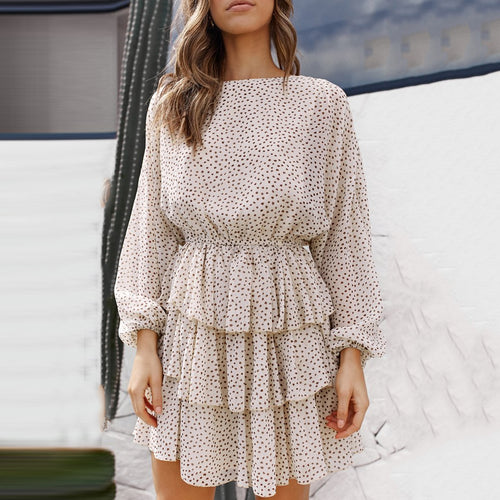 Fashion Print Long Sleeve Mini   Dress(Video)