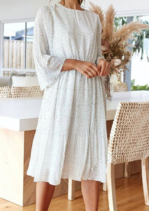 Casual Round Neck Floral Waist Long Sleeve Dress