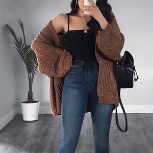Women's casual solid color knitted coat