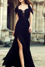 Load image into Gallery viewer, Black Chiffon Elegant Evening Dress