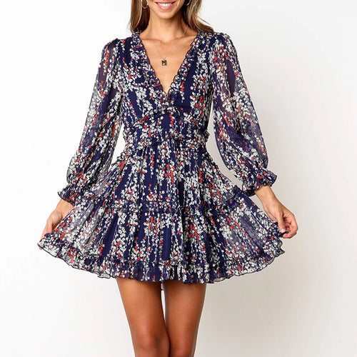 V-Neck Print Pleated Design Loose Mini Dress(Video)
