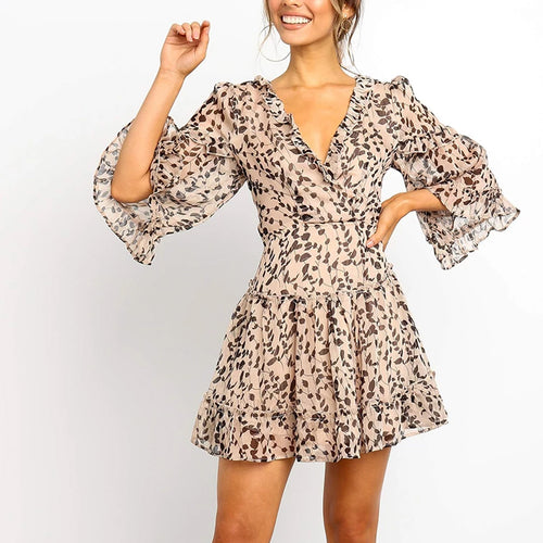 V-Neck Print Stitching Wooden   Ear Mini Dress(Video)