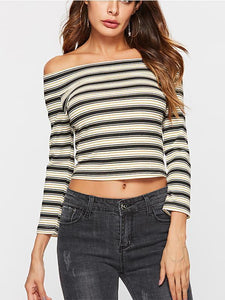 New Sexy Striped Navel T-Shirt