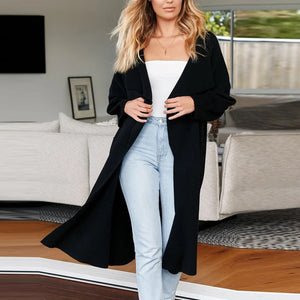Fashion Solid Color Mid Length Women Cardigan