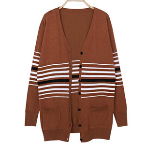 Fashion Casual Striped Knit Sweaters Cardigan
