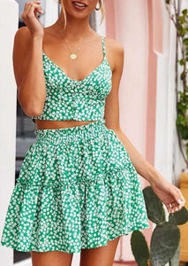 Fashion Floral Printed Short Skirt Suit