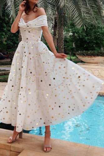 Sexy Shimmering Dot Pattern Maxi Dress