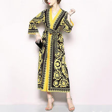 Load image into Gallery viewer, Retro V-Collar Court Print Leopard Lace Loose Dress
