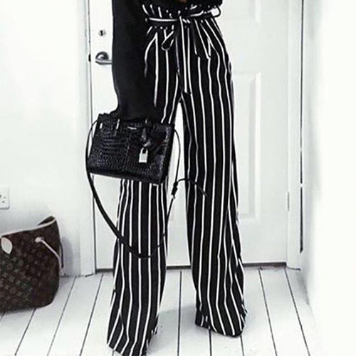 Fashion Stripe Wide Leg Belt Pants