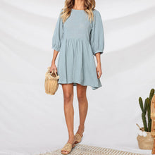 Load image into Gallery viewer, Casual Loose Round   Collar Pleated Hemline Pure Color Mini Dresses