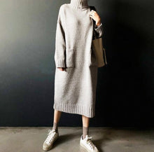 Load image into Gallery viewer, Fashion Simple Loose High Necked Knitted Casual Dress