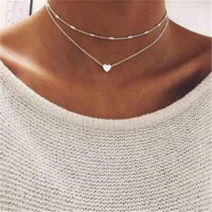 Simple hearts copper multilayer clavicle   necklace