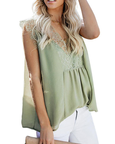 V-Neck Lace Pleated T-Shirt