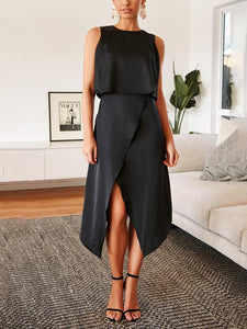 Fashion Round Neck Sleeveless   Irregular Split Dress(Video)