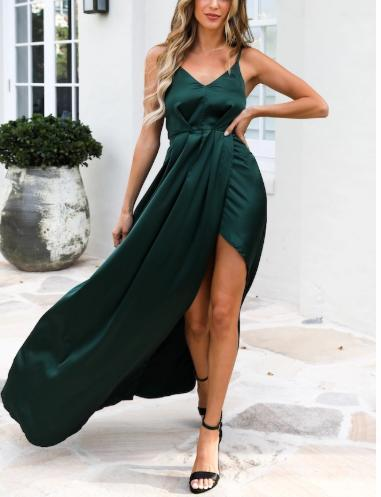 V-Neck Sling Solid Color Evening Dress(Video)