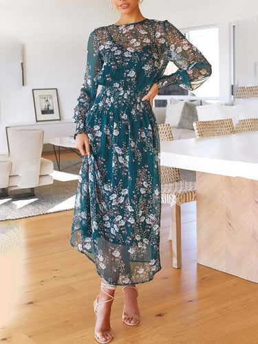 Round Neck Print Waist Long   Sleeve Dress