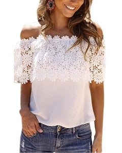 One-Sleeve Sleeveless Stitching Lace Shirt T-Shirt