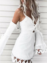 Load image into Gallery viewer, Sexy Elegant Off Shoulder Long Sleeves Mini Dress