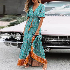 V-Neck Fringed Tie-Up Vacation Dress