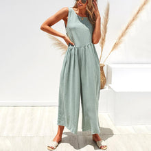 Load image into Gallery viewer, Casual Round Collar Plain Loose Sleeveless Jumpsuit