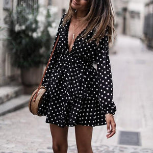 V-Neck Dot Print Long-Sleeved Skate Dress