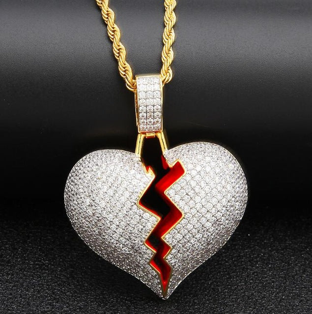 6395660eb Iced Out Broken Heart Necklace Pendant Gold/Silver Chain Gift – Ice ...
