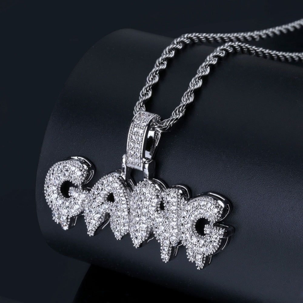 6f8864bab Iced Out Bubble Letters 'GANG' Necklace Pendant Chain Gift – Ice ...