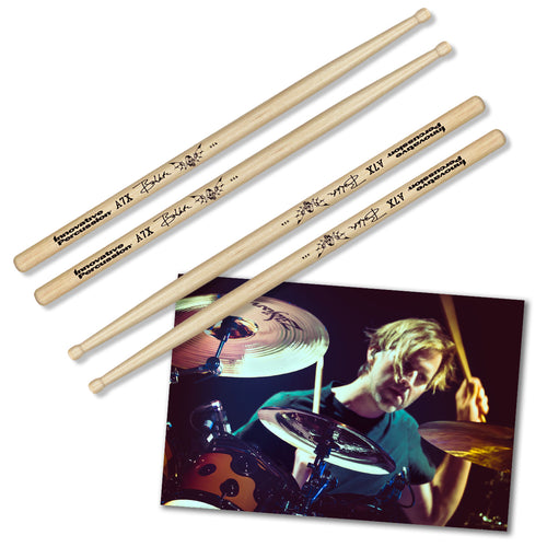 2x Drumsticks & Poster (unsigned) - 1234Clothing