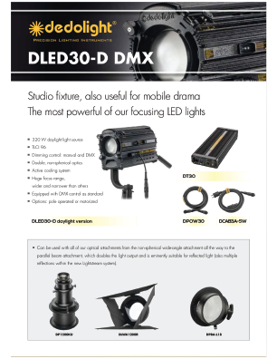 Dedolight DLED30-D high-powered mono-color, 5600k balanced LED focusing light head brochure