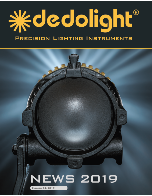 "Current ""News"" Brochure highlights current popular LED fixtures and dedolight accessories, including projectors and complete LED kits"