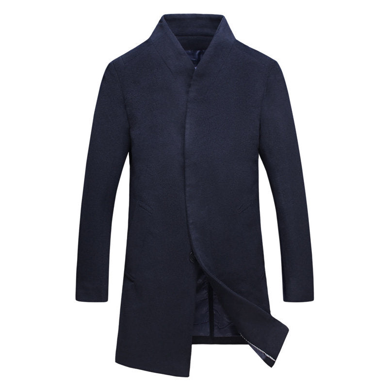 Large Size Windproof Men's Long Woolen Overcoats