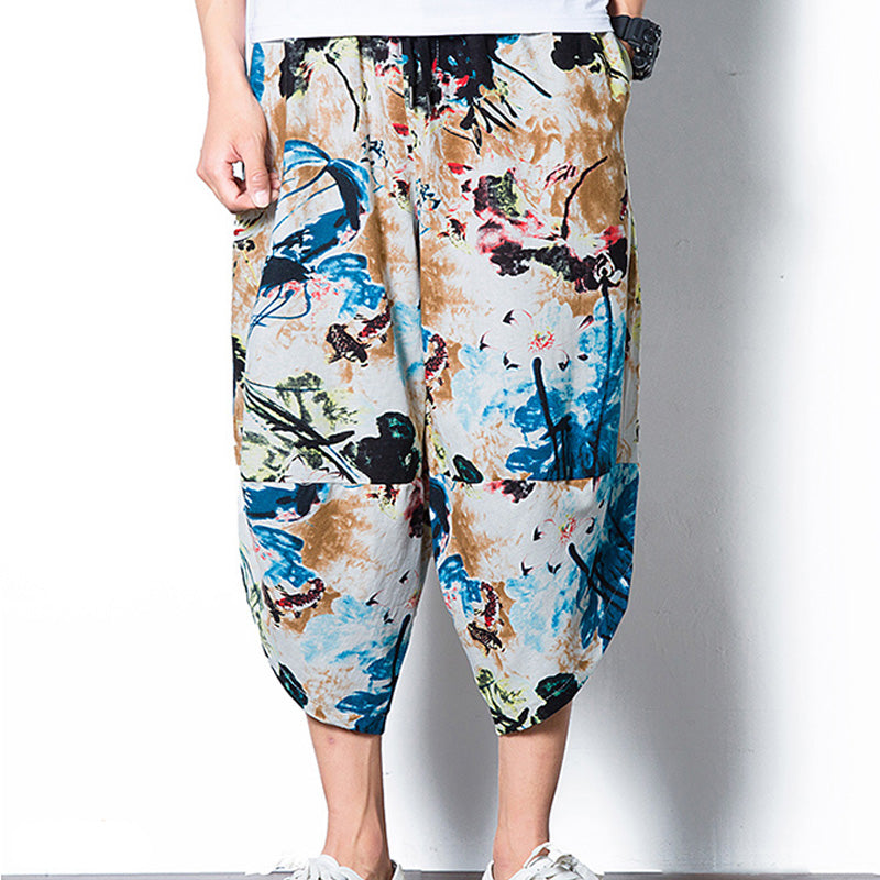 Mens Printed Casual Trousers Fashion Pants