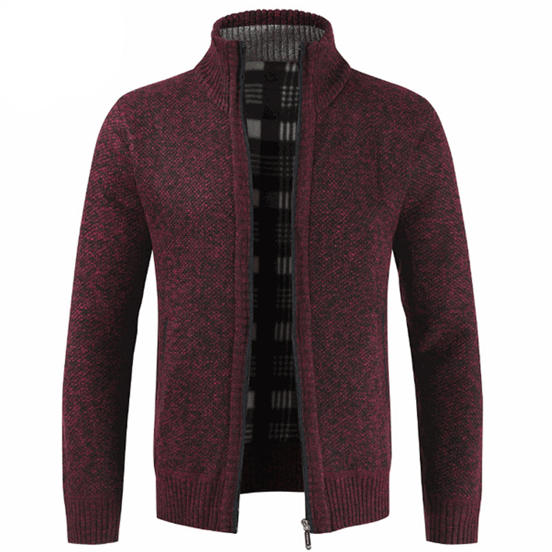 Stand Collar Warm Velvet Padded Zipper Cardigan Sweater